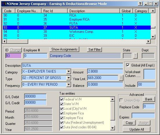 defining the nj payroll codes